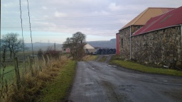 Bear left, keeping the barns on your right as you pass Easter Colquhally Farm.