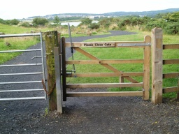The gate only opens one way but should be self closing. The lever opens the latch from this side of the gate.