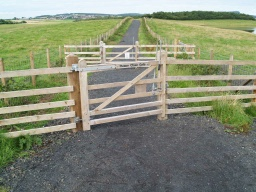 The gates open one way but are self closing. The latches should be easily used from both directions and without much strength being required to operate them.