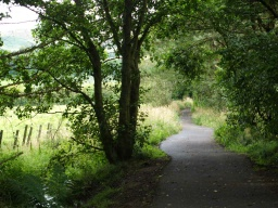 The path follows a stream and has views across open fields.