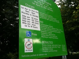 Diabled parking is free and there are no charges during the winter months.