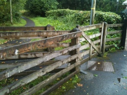 Follow the River Path and go through the wooden kissing-gate.