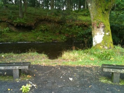 The benches are situated next to the River.