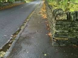 Follow this pavement back towards the village.