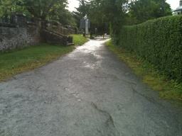 Keep Right and head uphill towards Luss Chruch. The incline was measured at approximately 8%(1:12)