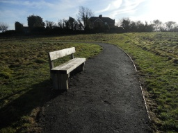 Another bench is situated just past the boardwalk. As before, the bench is set into the path. The path measurement at this point is 2 metres.