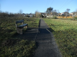 This bench is the last seating area alongside the path.