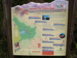 An information board at the start of the cycleway gives information on many walks in Glenmore Forest Park.