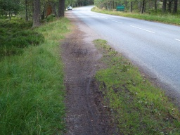 The road side path is a little narrow and muddy at one point.
