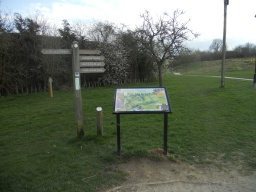 An interpretation board and fingerpost provides orientation of the trails and site features.
