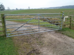 The field gate has a similar spring latch to the first gate but there is also a lift catch that is easier to operate.