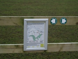 Information on paths in the area is provided. There are also signs explaining the farming methods used on this particular farm.