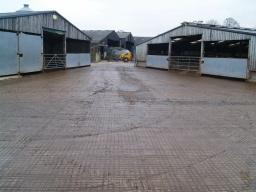 The concrete farmyard is a working area and may have mud or slurry on its surface that may make it slippery at times.