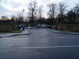 The entrance to the car park in on Pittencrieff Road, the A907.