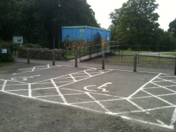 There is a large car park with disabled parking bays
