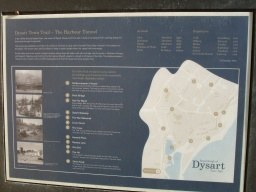 An information board gives details of the Dysart Town Trail.