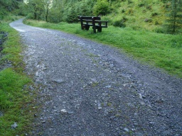 The rise to the second bench and is 11% (1:9) with some loose stones and bumpy ground.