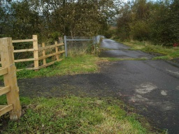 Turn left after the kissing gate and downhill onto the old tarmac road.
