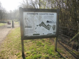 An orientation map of Stanmore Country Park is located by the entrance.