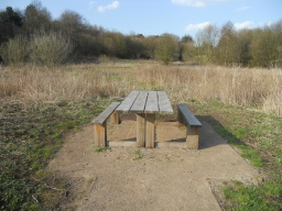Pleasant views of the meadows. An extrended table-top allows wheelchair users access to the picnic bench.