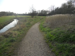 The stone path becomes a rougher, worn-earth surface. Ahead is another rest area which is situated next to a pond (to the right of the picture).