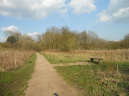 Another rest area is placed in an open position with lovely views across the meadows.