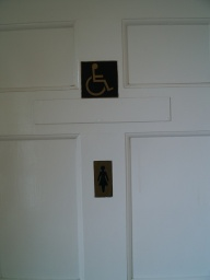 The accessible toilets are in the Ladies.
