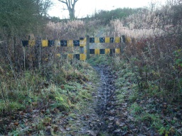 There is a gap of about 1m through the black and yellow barriers.