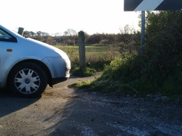 The access from Maree Drive (B9037) has a small parking space. In this photograph access has been restricted by someone parking there.