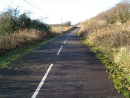 The road leading from the end of the trail towards Clackmannan. There is little traffic on this road as it is not a through road for vehicles.