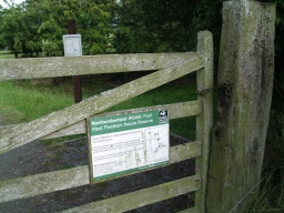 There is information about the site on a sign on the gate. The gate opens inwards and is not self closing.