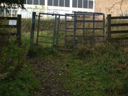 The gap on the left is less than 400mm wide. The gate is overgrown and has a width of less than 80mm and a depth less tha 1000mm.There is a 15m slope at about 10% in front of the gate.