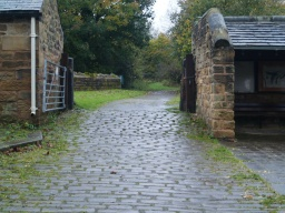 The mill yard has stone setts which are uneven in places and can be slippery when wet.
