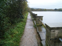 The stone path along the side of the reservoir is about 1m wide and not quite wide enough for two people to walk together side by side.
